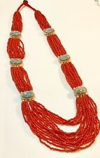 """Vintage Red Coral Beaded mosaic Turquoise 16 Strands Necklace 30"""" lengths"""