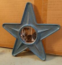 Country Primitive Farmhouse Blue Colored Tin Metal Star Mirror