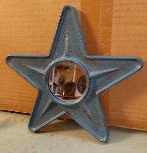 Country Primitive Farmhouse Blue Colored Tin Metal Star Mirror