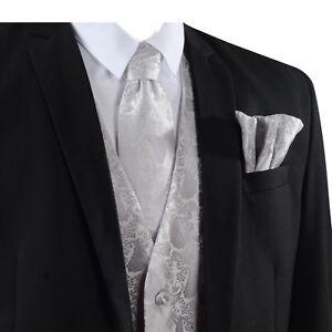 Men's Paisley Waistcoat Vest and Tie Handkerchief Set For Suit UK Wedding Event