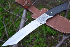 "HUNTEX Handmade J2 Steel 12.5"" Long Buffalo Horn Hunting Tanto Bladed Knife"