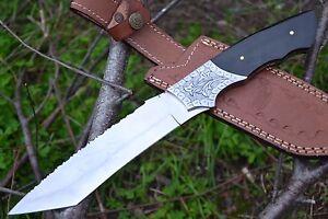 HUNTEX New Custom Handmade J2 Steel 320 mm Long Buffalo Horn Hunting Tanto Knife