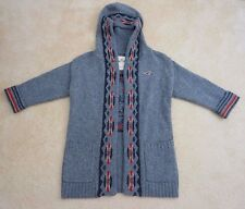 NWT Hollister Womens Chunky 100% Wool Cardigan Sweater Size XS/S Top Shirt Gray
