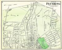 MAP ANTIQUE 1873 BEERS FLUSHING QUEENS NEW YORK LARGE REPRO POSTER PRINT PAM1915