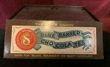 VINTAGE SCHRAFFT'S BLUE BANNER CHOCOLATES Store Display Base Excellent Brass/Tin