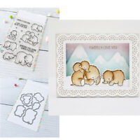 Mammoth Love Clear Stamps with Metal Cutting Dies for Diy Scrapbooking Cards