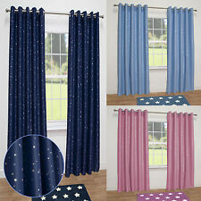 Stars Kids Thermal Blackout Ready Made Eyelet Curtains