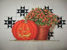 """Handmade Completed Halloween/Autumn Cross Stitch, Unframed, 9 1/4 x 5 1/2"""""""