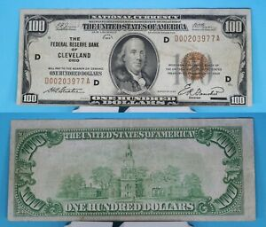 1929 The Federal Reserve Bank of Cleveland, Oh $100 National Currency FR# 1890-D