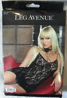 BEAUTIFUL BLACK LACE MINI DRESS & G STRING CLUBWEAR GLAMOUR LEG AVENUE CHEMISE