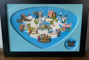 Rare Disneyland 50th Anniversary Shag Retro Map Framed Pin Set!! 2005!