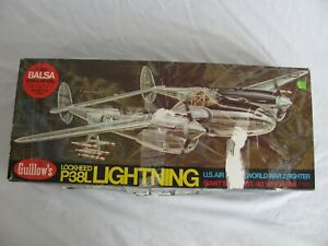 Guillows Large Balsa Wood Lockheed P38 Lightning Flying Model Airplane Kit #2001