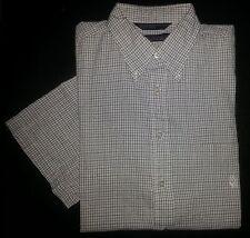 2801s White Black Grid L NAUTICA White Logo Casual Dress Shirt!