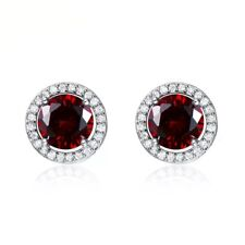 SILVAGE 925 Sterling Silver Red Ruby Diamond Accents Round Stud Earrings