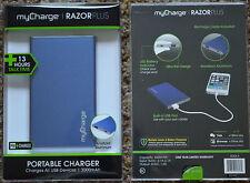New ~ myCharge RAZOR PLUS 3000mAh {blue} PORTABLE CHARGER Slim +13 hrs talk time