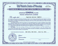 Personalized Repro Old Style Amateur Radio License Ham - Choice of Class, BLUE!