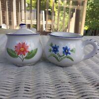 (Set Of 2) Hand Painted Creamer & Sugar Bowl, Flowers, Blue Red Yellow, Italian