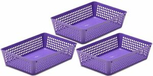 3-Pack Plastic Storage Baskets for Office Drawer, Desk, 32-1182-3