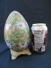 "Vintage Chinese Enamel Cloisonne Egg & Metal Stand w Filigree Flowers Large 7"""