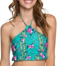 Betsey Johnson emerald in bloom halter swim top Lg