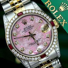 Ladies Rolex Steel & Gold 26mm Datejust Pink Flower MOP Dial Ruby & Diamond