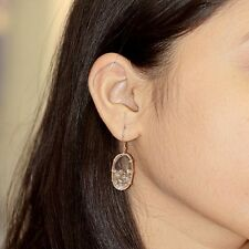 Loose 3ct Diamond Hook Dangle Earrings Quartz Gemstone NEW 14k Rose Gold Jewelry