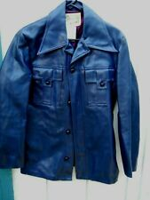 Vintage 70'S Navy Blue Vinyl Button Men'S Jacket Size Medium Made By California