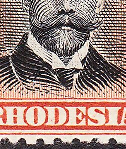 Rhodesia 1913  P14 4d POS 22 VARIETY SLOPING LINE ON KING'S LAPEL SG211(Var)MHOG