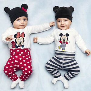 Baby Boy Girl Minnie Mickey Mouse Bodysuit Romper Pant + Hat Clothes Outfit UK