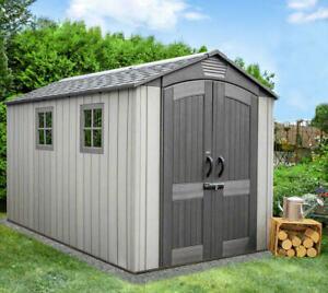 Gerätehaus 7,02m² Gartenhaus aus Kunststoff mit Metallschienen verstärkt