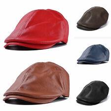 Retro Aged Men's Leather Flat Cap Newsboy Gatsby Bonnet Cabbie Beret Winter Hat