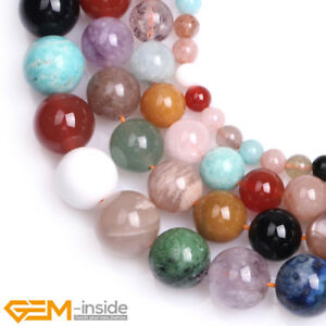 "Natural Round Mixed Stone Loose Beads For Jewellery Making Strand 15"" Wholesale"