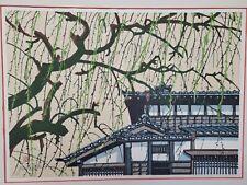 """JUNICHIRO SEKINO WOODBLOCK PRINT """"Yoshida"""" House with Willow"""