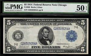 1914 $5 Federal Reserve Note Chicago FR-869 - Graded PMG 50 EPQ - About Unc.