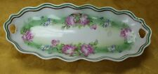 """Antique Welmer Germany Marked 11.5"""" Plate Bowl Tray Roses Scallop Edge"""