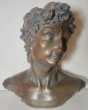 "VINTAGE BRONZE ART STATUE BUST OF DAVID 7 1/2"" unsigned figurine"