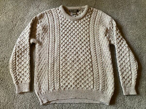 Inis Crafts Aran Fisherman Sweater Mens XL Oatmeal Cable Knit Wool Ireland Made