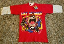 Vintage 1995 Taz LOONEY TUNES Net Minder #25 Red Shirt Hockey Goalie Men Size M