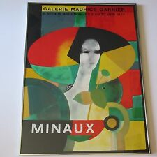 MINAUX 1977 POSTER LITHOGRAPH GALLERY GALERIE MAURICE GANIER ABSTRACT CUBISM VTG