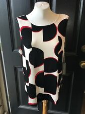 New Chico's Travelers Black White Red Abstract Dots Tank Top Sz 3 = XL 16 18 NWT