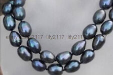 "Hot sell! 100% Genuine Natural 34"" 9-10mm black south sea baroque pearl necklace"