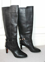 CHLOE BLACK LEATHER METAL STRAP PULL ON BOOTS 36.5