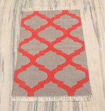 2x3 Ft Hand Woven Modern Cotton Rug Geometric Reversible Small Door Mat DN-2072