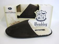 Wembley Size L 9.5 10 10.5 Slippers Brown Faux Suede Sherpa Lined Comfy NEW