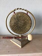 Antique Vintage Brass Dinner Table Gong & Striker