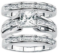 Women's Real 925 sterling silver Princess Cut Wedding Ring 3 pc Set Sz 4-11.5
