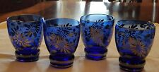 Sterling Silver Overlay Cobalt Blue 10 ounce tumblers Floral design Rocks