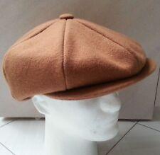 NWT Newsboy Size M Wool Blend Vintage Hat Cap Dark Tan Camel Color Solid Design