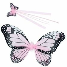 Ladies Girls Pink Butterfly Fairy Wings & Wand Fantasy Accessory Costume Kit Pan