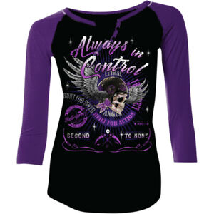 Lethal Threat Women's Lethal Angel Control Long Sleeve T-Shirt (Black/Purple)